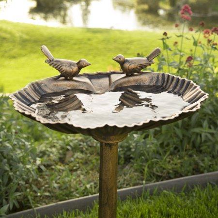 VIVOHOME Polyresin Outdoor Double Birds Garden Bird Bath Copper ()