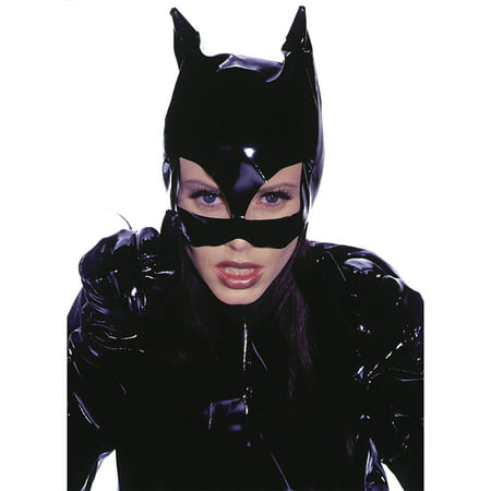 Black Mask Costume (Leg Avenue Women's Vinyl Cat Woman Mask Costume Accessory, Black, One)