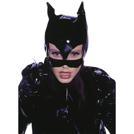 Leg Avenue Women's Vinyl Cat Woman Mask Costume Accessory, Black, One Size](Black Cat Mask Marvel)