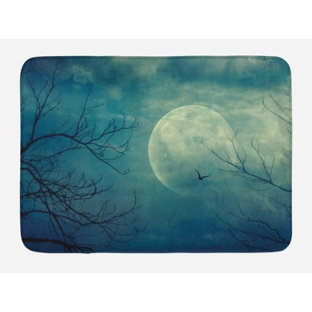Horror House Bath Mat, Halloween with Full Moon in Sky and Dead Tree Branches Evil Haunted Forest Print, Non-Slip Plush Mat Bathroom Kitchen Laundry Room Decor, 29.5 X 17.5 Inches, Blue, Ambesonne