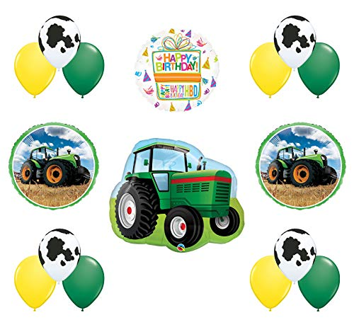 Mayflower Products Farm Tractor Birthday Balloon Bouquet Decorations and Party Supplies - Tractor Birthday Supplies