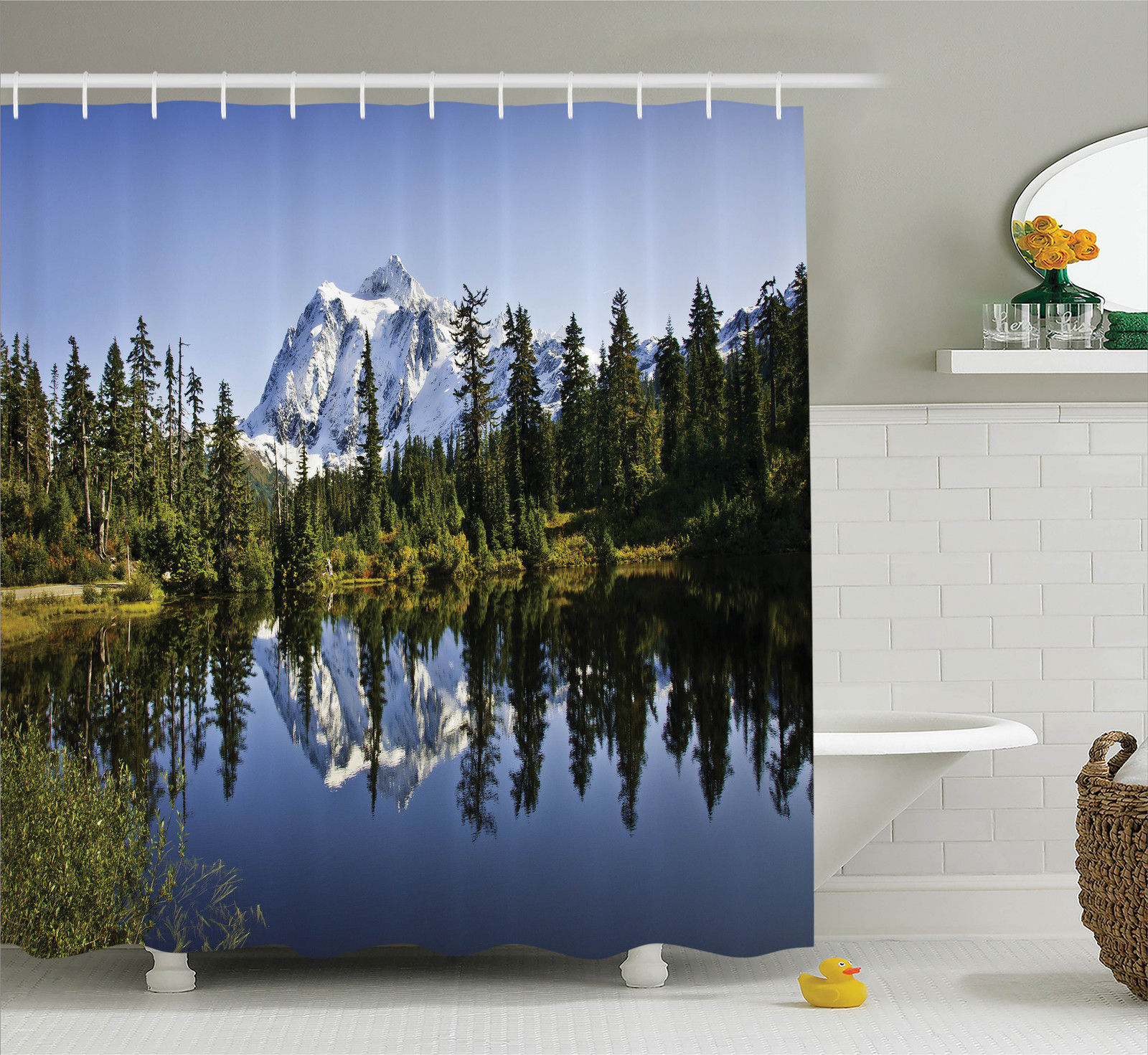 Lake House Decor Fall Colored Trees And Snowy Mountain Landscape With Crystal Lake Nature Photo, Bathroom Accessories, 69W X 84L Inches... by Kozmos
