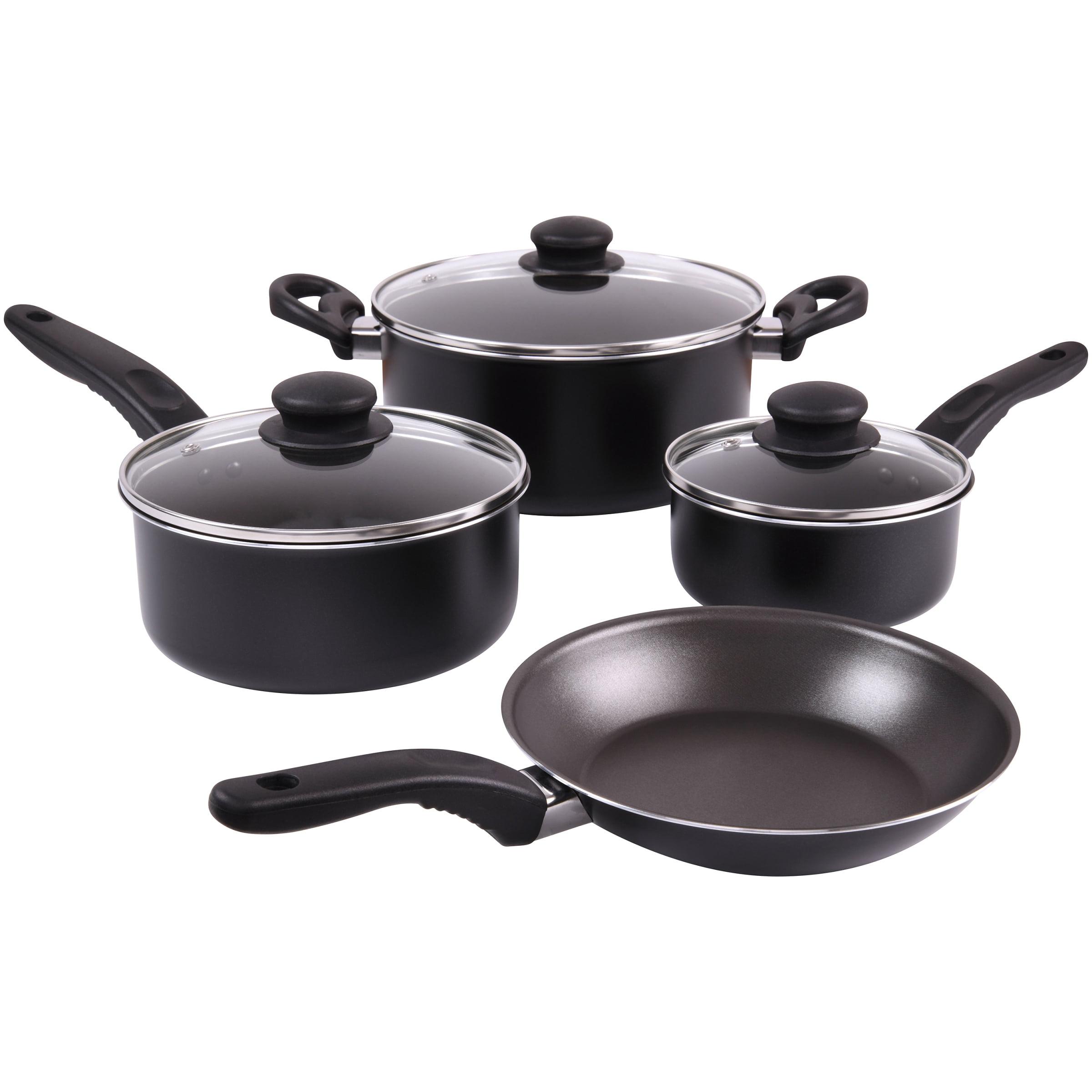 Mainstays 7-Piece Cookware Set Black with Teflon Non-Stick Construction