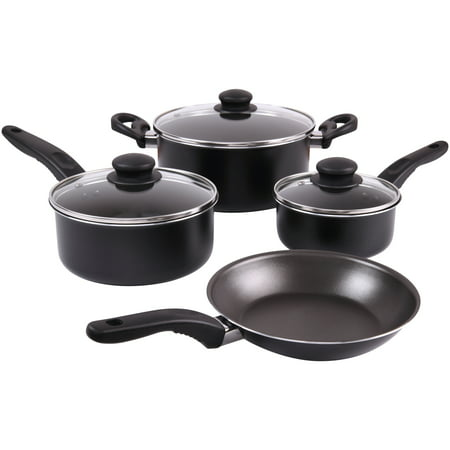 Mainstays 7-Piece Cookware Set Black With Teflon Non-Stick Construction