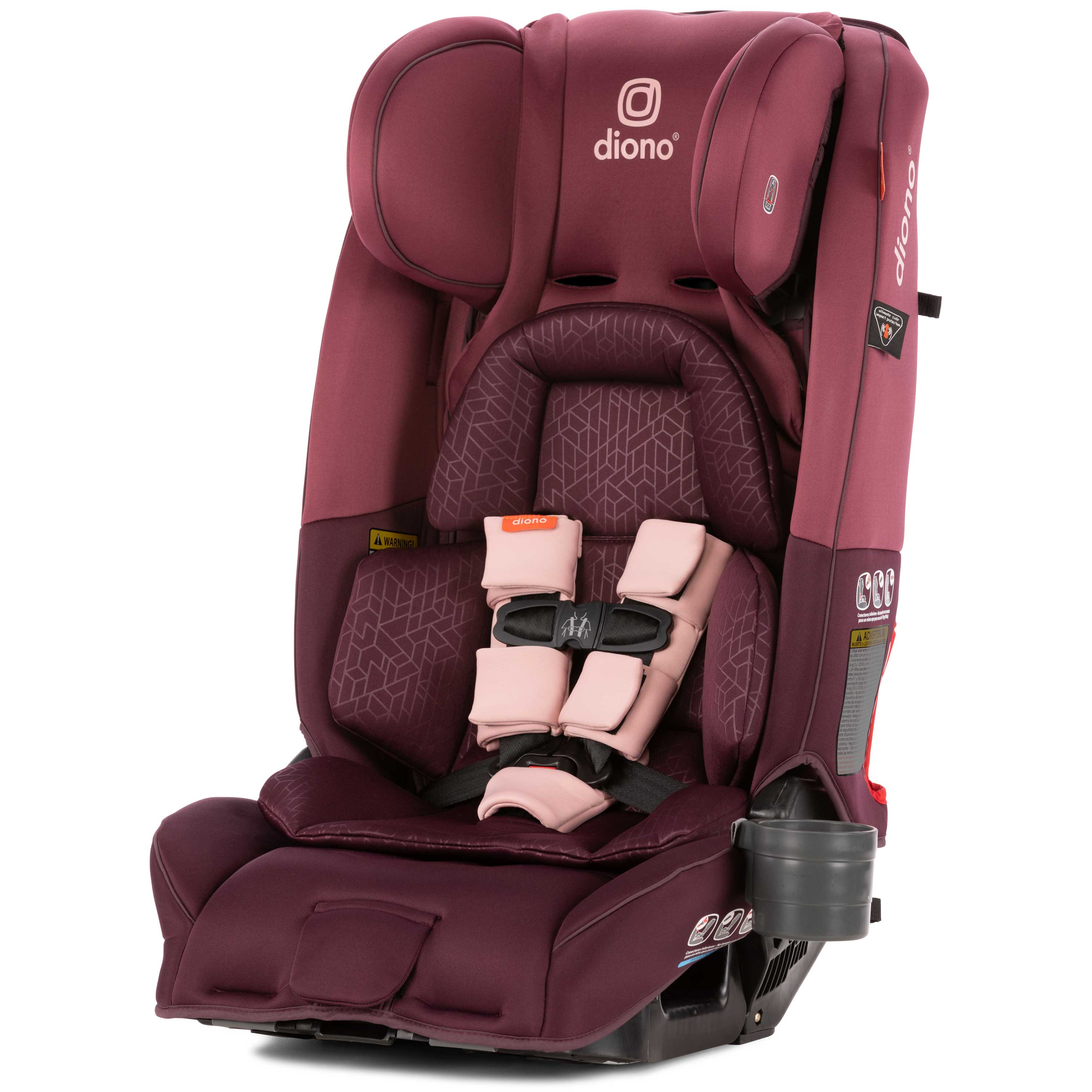Diono Radian 3 RXT All-in-One Convertible Car Seat - Extended Rear-facing 5-45 lbs., Forward-facing to 65 lbs., Booster to 120 lbs.; The Original 3 Across; Plum