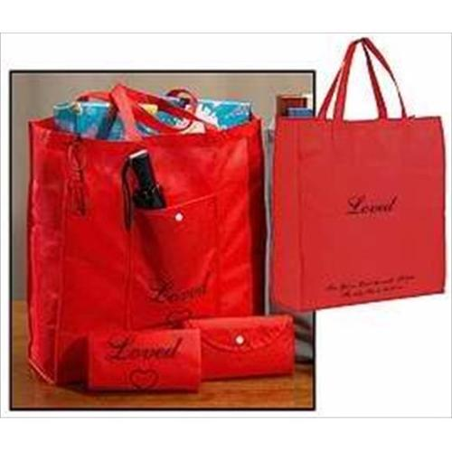 "Tote-(Fold-In Pocket)-Loved-Nylon-Red (16.5"" x 17.5"" x 4.5"")"
