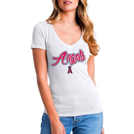 MLB Los Angeles Angels Women's Short Sleeve White Graphic - Mlb Angels Logo