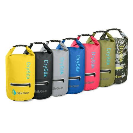 DrySak Premium Waterproof Dry Bag with Exterior Zip Pocket Shoulder Strap and Reflective Trim | Keeps Gear Safe & Dry During Watersport - Exterior Zip Pocket