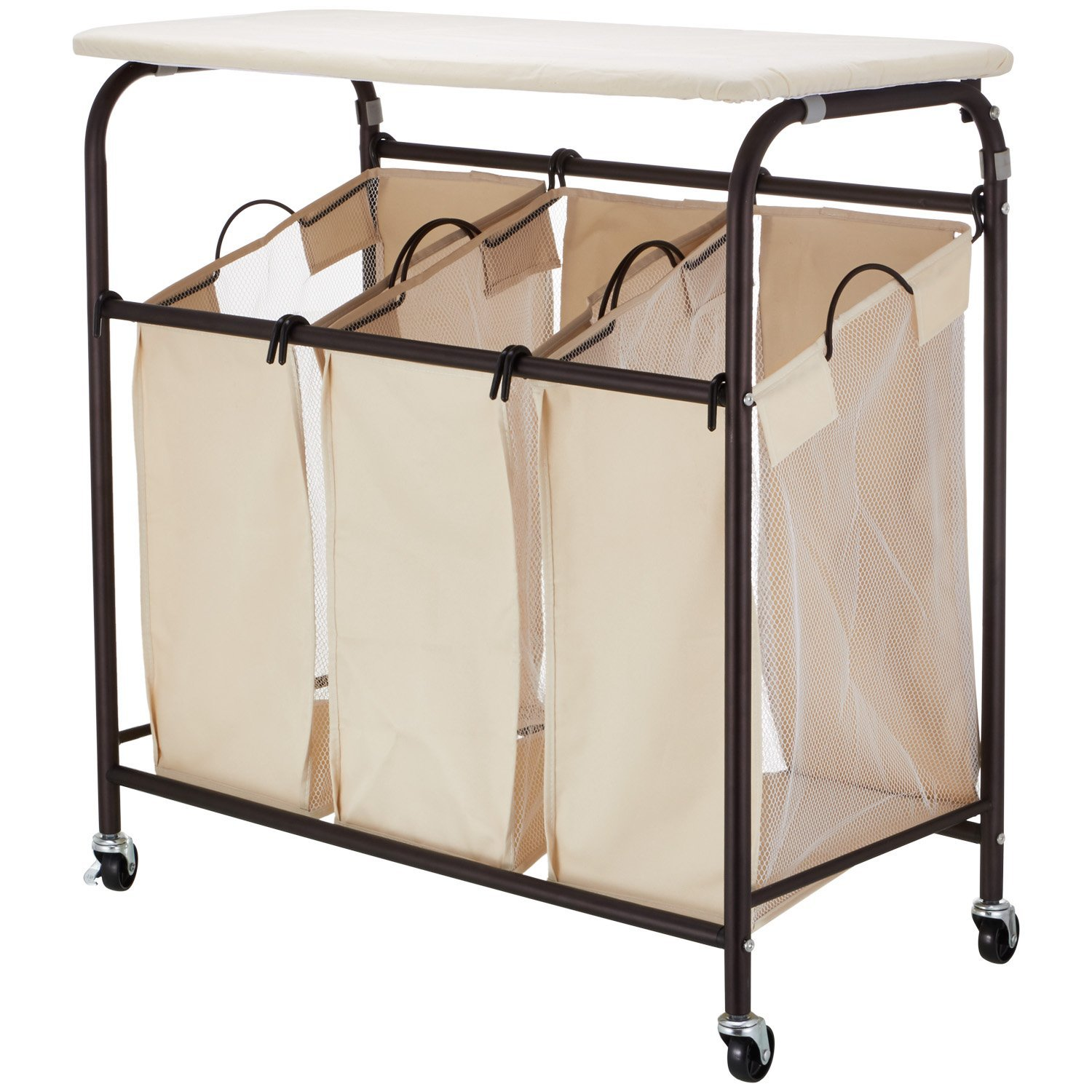 ollieroo rolling laundry sorter cart heavy duty 3 bags with ironing board