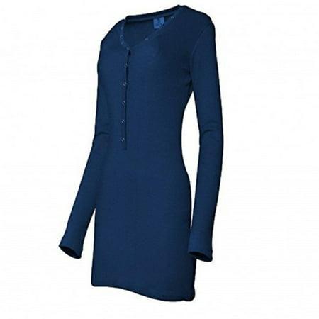 Long Placket (Skylinewears Women Henley Neck Button Placket Long Sleeve Fashion Casual Mini Dress Navy)