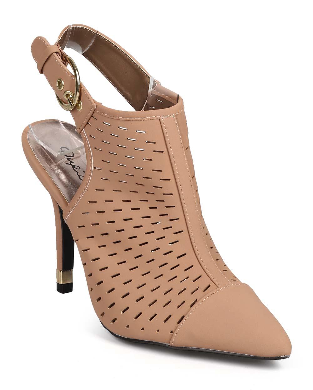 Qupid EK04 Women Nubuck Pointy Cap Toe Slit Slingback Stiletto Mule