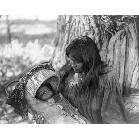 Apache Woman   Child C1906 Nan Apache Woman Holding An Infant In A Cradleboard Photograph By Edward Curtis C1906 Rolled Canvas Art     18 X 24