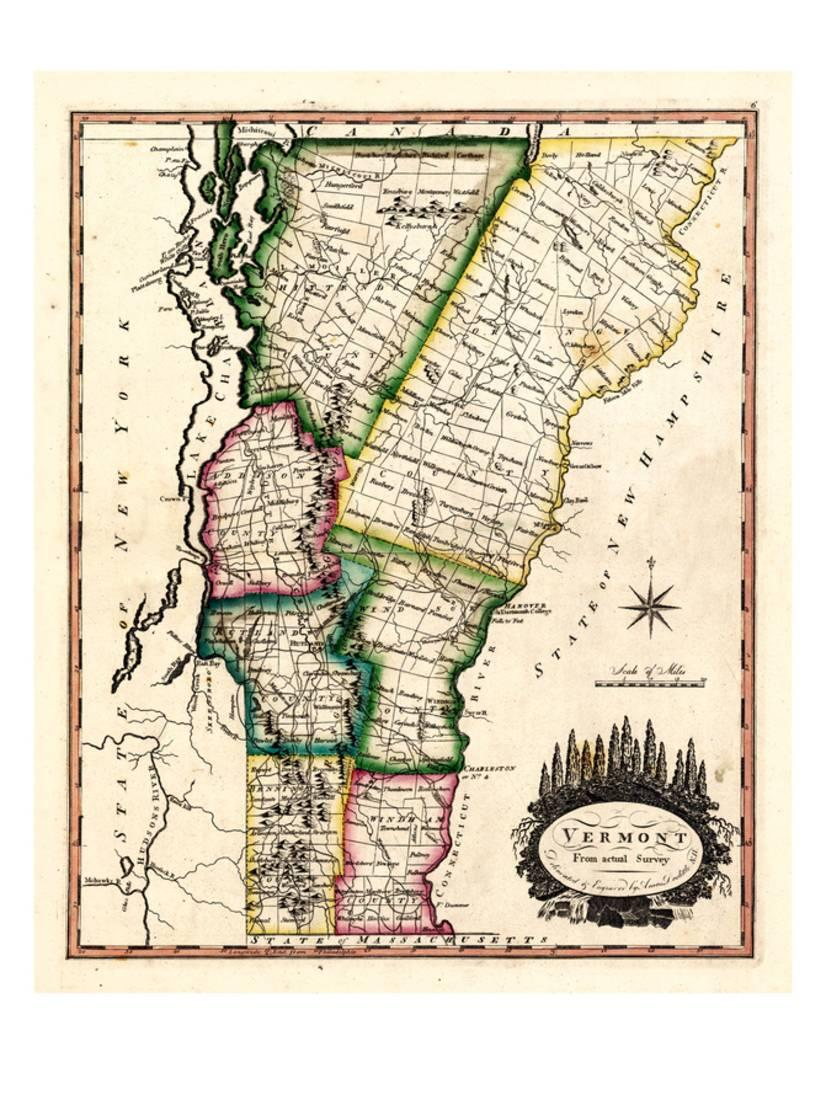 1810s, Vermont State Map, Vermont, United States Print Wall Art