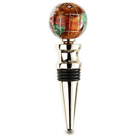 Alexander Kalifano WBS30G-CPR Gemstone Globe Gold Colored Bottle Stopper - Copper covid 19 (Copper Bottle Stopper coronavirus)