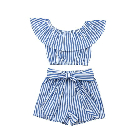 Summer Girls Clothes Ruffle Crop Tops+Shorts Pants Striped Outfits Set