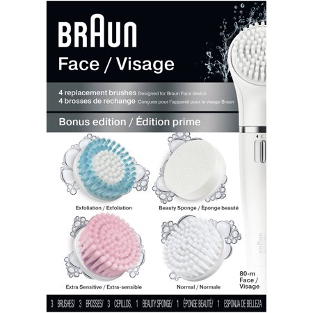 Braun Face 80M - Multipack of 4 Variety Brush Refills for Braun Mini-Facial Epilator and Facial Cleansing Brush