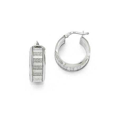 8mm Glitter Inlay Round Hoop Earrings in Sterling Silver, 20mm