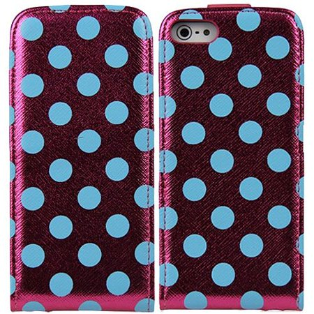 Hot Pink Blue Polka Dot Pouch Wallet Case Cover For Apple Iphone 5 5S 5Se With Free Pouch
