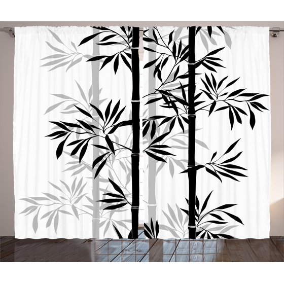 Tree of Life Curtains 2 Panels Set, Silhouette of Spiritual Bamboo ...