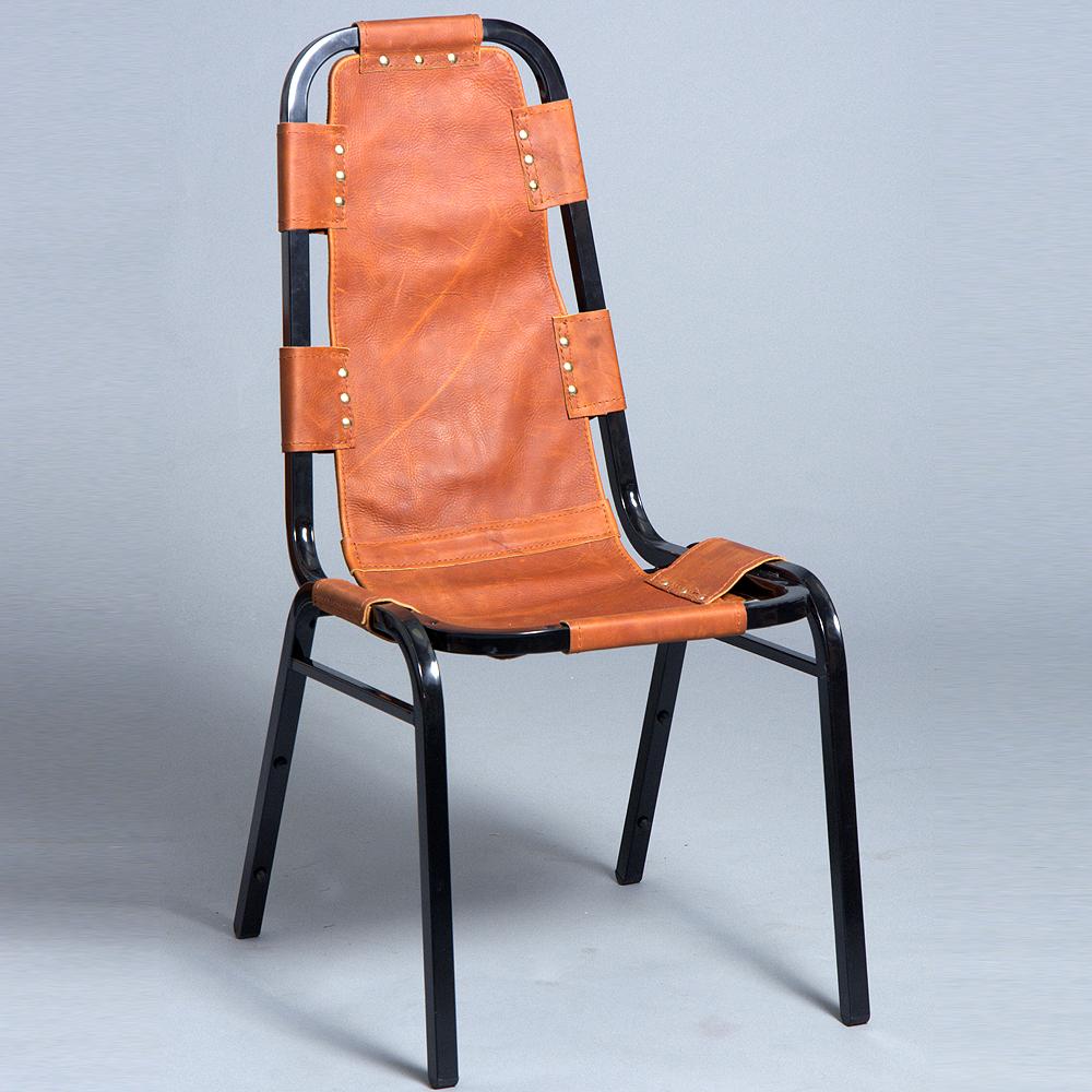 vintage black metal frame leather side chair mid century modern design dining. Black Bedroom Furniture Sets. Home Design Ideas