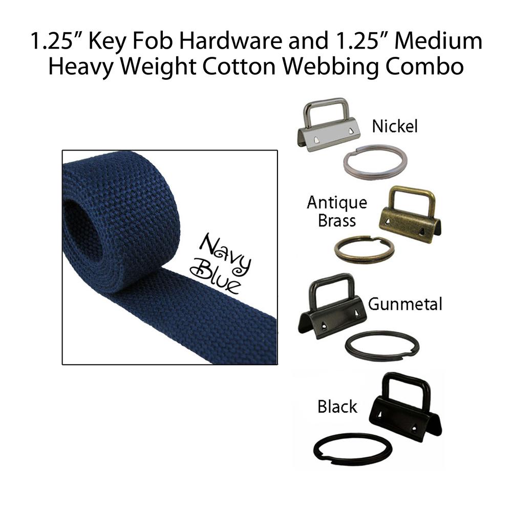 "1.25"" Key Fob Hardware and 1.25"" Cotton Webbing Combo - Navy Blue"