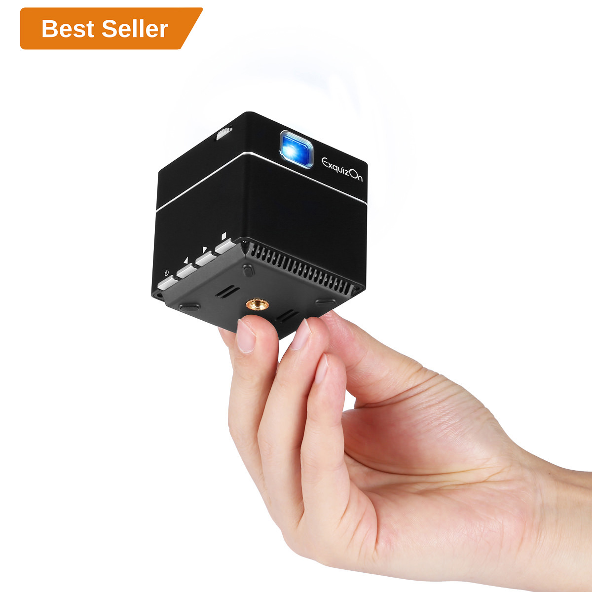 Exquizon S6 Mini Cube DLP Pocket Projector S6 1080P Supported HD Pico Wireless Wifi Built-in Battery Smart Video Projector Compatible With HDMI Devices Micro SD Card For Home And Ourdoor