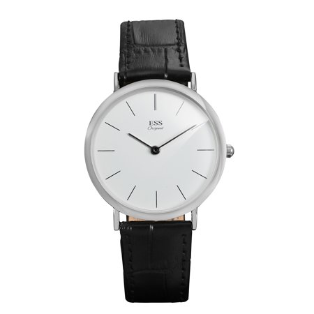ESS Minimal White Dial Quartz Wrist Watch Silver Case Artificial Leather Mens