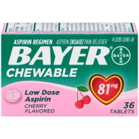 Bayer Chewable Aspirin Regimen Low Dose Pain Reliever Tablets, 81mg, Cherry, 36 Ct