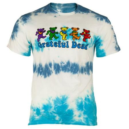 Grateful Dead - Dancing Bears Blue Tie Dye Mens T-Shirt - The Grateful Dead Bears