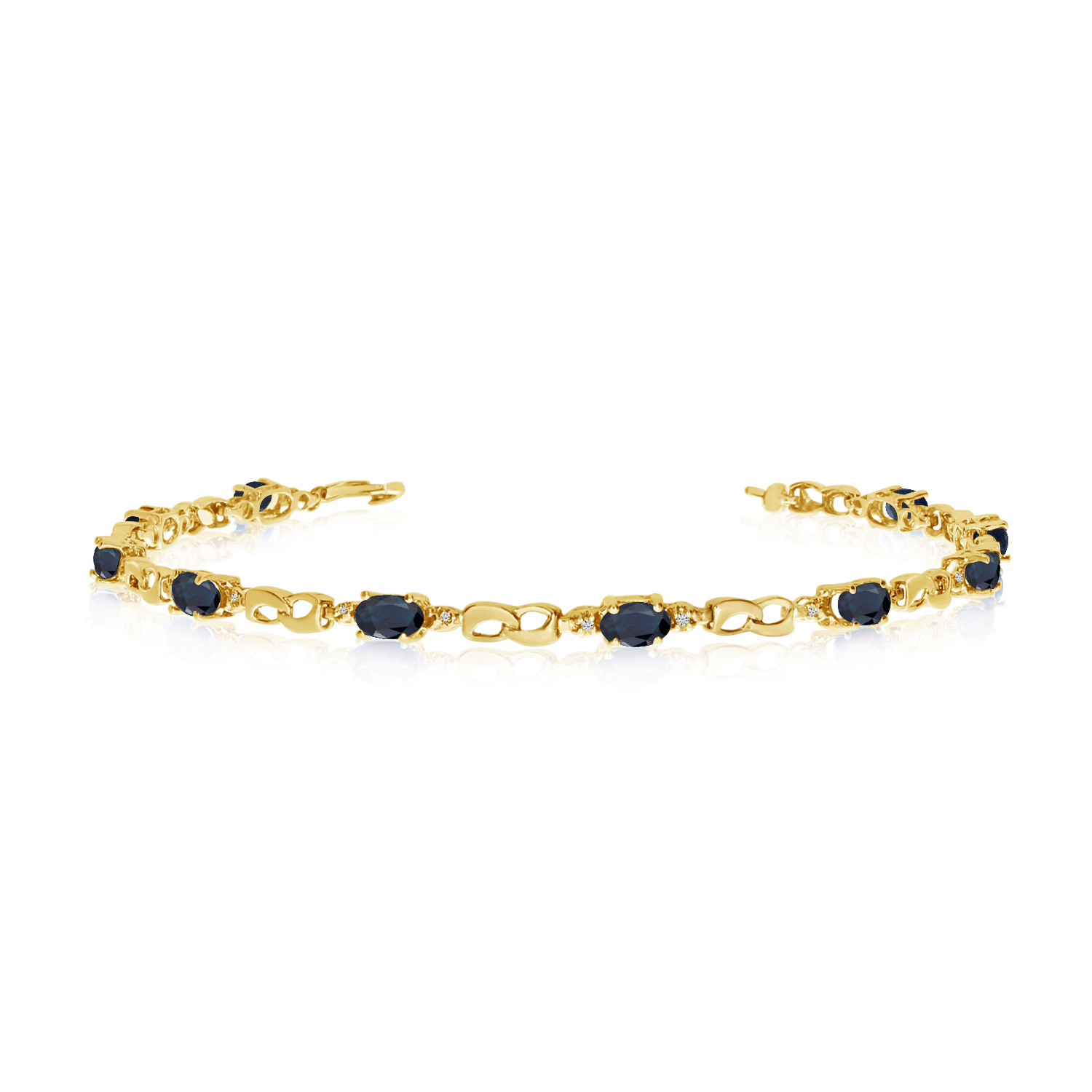 10K Yellow Gold Oval Sapphire and Diamond Link Bracelet by