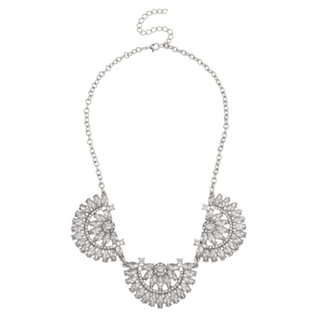 - Lux Accessories Silvertone Pave Rhinestone Floral Flower Statement Necklace