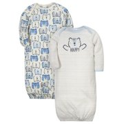 Gerber Baby Boy Organic Lap Shoulder Gowns, 2-Pack
