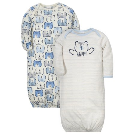 Gerber Organic Cotton Lap Shoulder Gowns, 2pk (Baby Boys)
