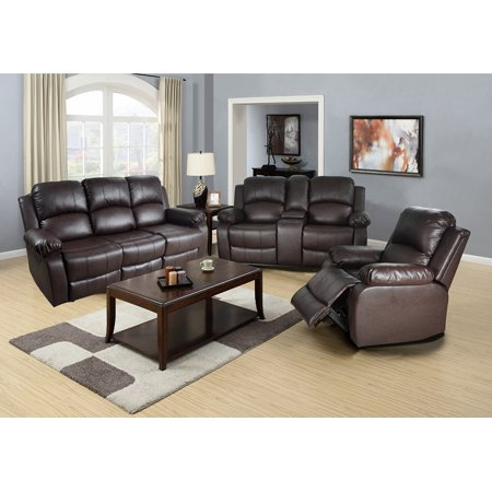 Reclining Living Room Sofa Set_AYCP Furniture_3pc Living Room Reclining Sofa Set, Sofa with Drop down Table/Loveseat with Console/Chair, Bonded Leather, Brown Color ()