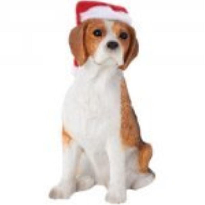 Sandicast Beagle with Santa Hat Holiday Ornament