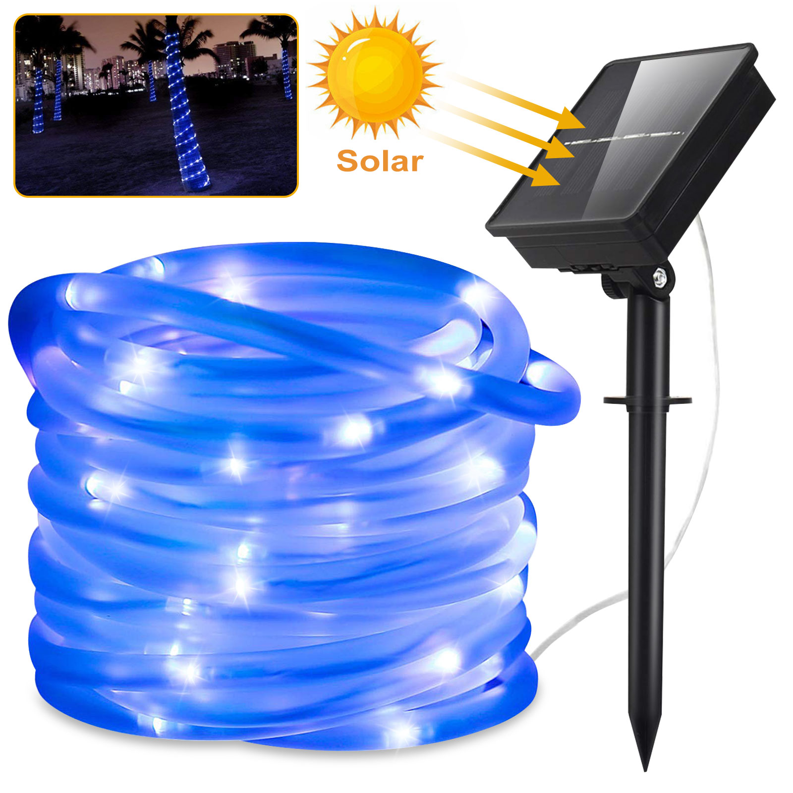 Solar String Rope Light 100 Solar Christmas Xmas Party Lights Twinkle Outdoor