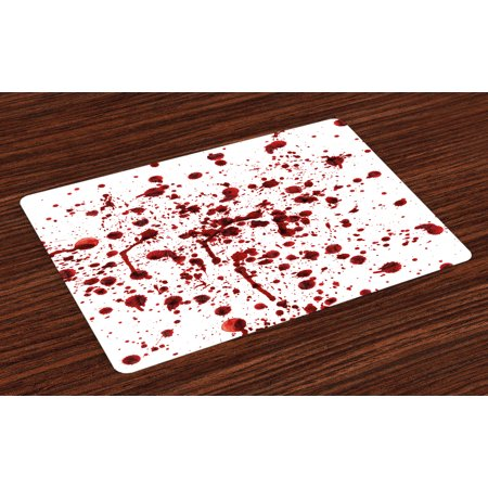 Horror Placemats Set of 4 Splashes of Blood Grunge Style Bloodstain Horror Scary Zombie Halloween Themed Print, Washable Fabric Place Mats for Dining Room Kitchen Table Decor,Red White, by Ambesonne