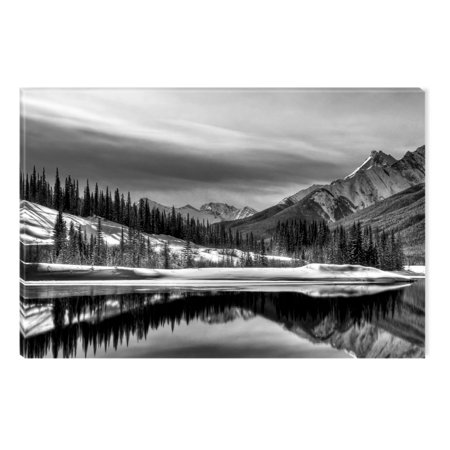 Framed Original Painting - Startonight Canvas Wall Art Black and White Abstract Canada Landscape, Dual View Surprise Artwork Modern Framed Ready to Hang Wall Art 100% Original Art Painting 23.62 X 35.43 inch