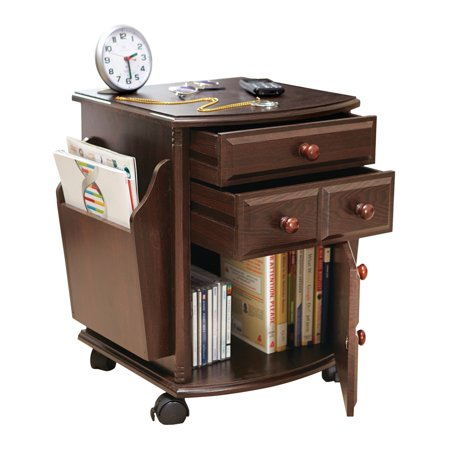 Multi Storage Mahogany Finish Companion Side Table with Rolling Wheels ()
