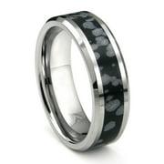 Titanium Kay Tungsten Carbide Cosmic Riverstone Inlay Comfort Fit Mens Wedding Band Ring Sz 10.0
