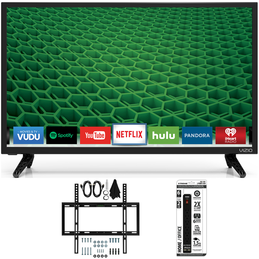 "Vizio D24-D1 D-Series 24"" Edge-Lit LED Smart TV Slim Flat Wall Ultimate Bundle"