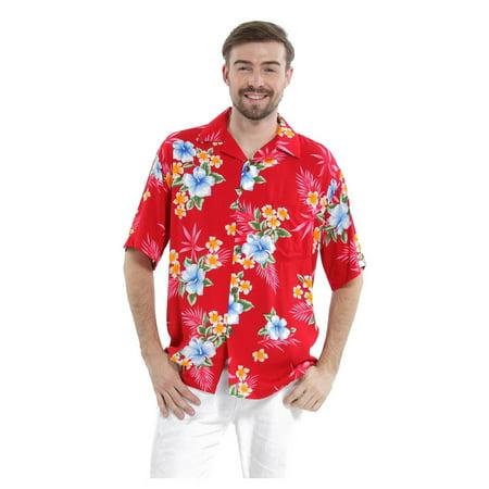(Men's Hawaiian Shirt Aloha Shirt 5XL Hibiscus Red)