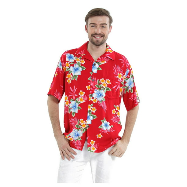 Men's Hawaiian Shirt Aloha Shirt S Hibiscus Red
