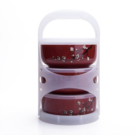 Set Of 3 Ceramic Lunch Bento Boxes / Food Carrier / Food Storage & Organization Container With Lid Burgandy Plum Blossom (Sugar Plum Toy Box)