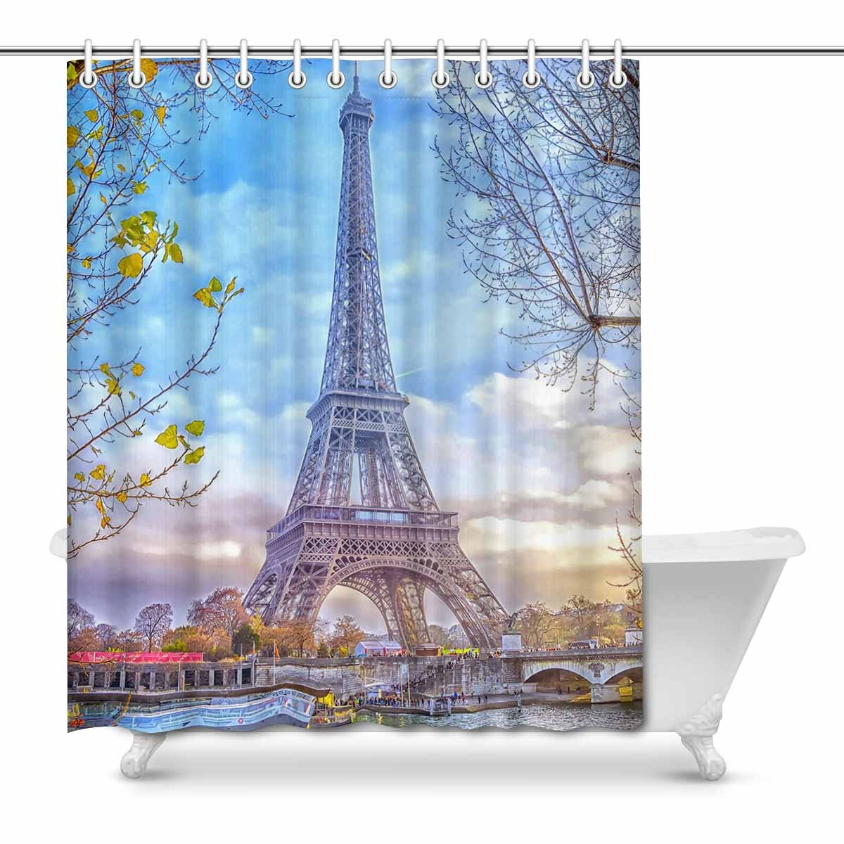 Romantic Paris Eiffel Tower Waterproof Fabric Shower Curtain Set Bathroom Hooks