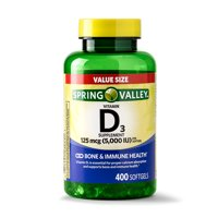 Spring Valley Vitamin D3 Softgels, 5000IU, 400Ct