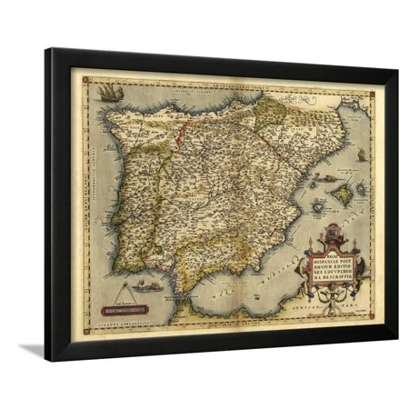 Ortelius's Map of Iberian Peninsula, 1570 Framed Print Wall Art By Library of Congress