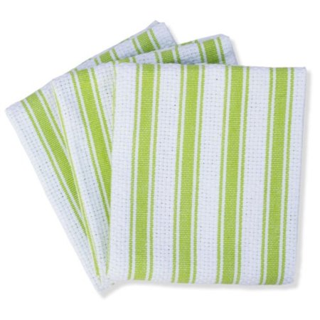 Mahogany Basket Weave Kitchen Towels with Color Stripes, Lime Green, Set of  3