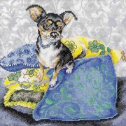 "RTO Black Chihuahua Counted Cross-Stitch Kit, 9-3/4x 9-3/4"", 14 Count"