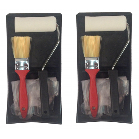 Set of 2 Paint Kits 5-Piece Set Tray Roller Foam Pad Brush Painters Gloves ()